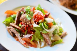 Spicy pork salad with vegetables , Asian style food , Thailand