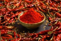 spicy red chilli powder with super chilli background