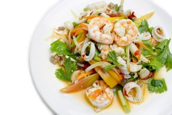 Spicy Seafood Salad isolated on white background.