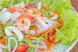 Spicy seafood salad, Thai food