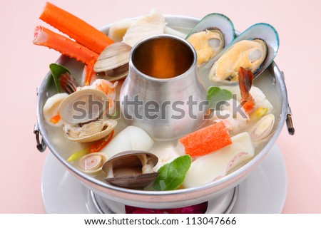 Spicy Seafood Soup Thai Food - stock photo