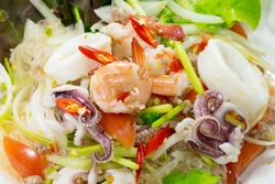 Spicy Shrimp with Squid Salad (Thai food)