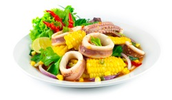 Spicy Squid with Corn Salad Thai food Spicy chili dish decoration carved vegetables  sideview