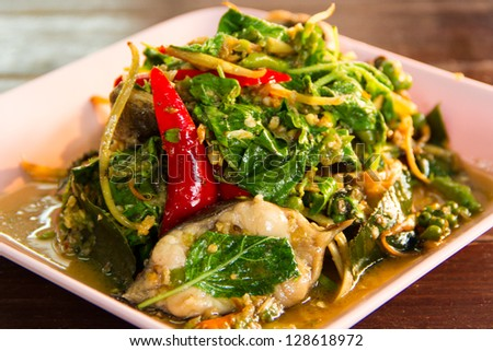 Spicy Stir Fried catfish on dish