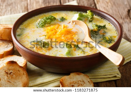 Spicy thick creamy broccoli cheese soup in a bowl with toast close-up on the table. horizontal