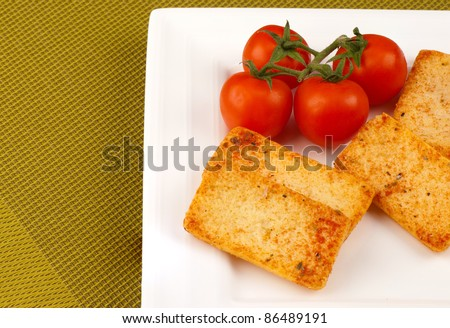 Spicy tomato and oregano crackers, Mediterranean finger food