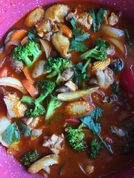 Spicy Tomyam Thai cuisine with Broccoli Babycorn Carrot and Chicken