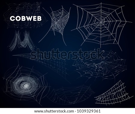Spider cobwebs various forms isolated set. Realistic design elements for halloween holiday banners decoration. Abstract detailed spider web silhouettes on dark background illustration.