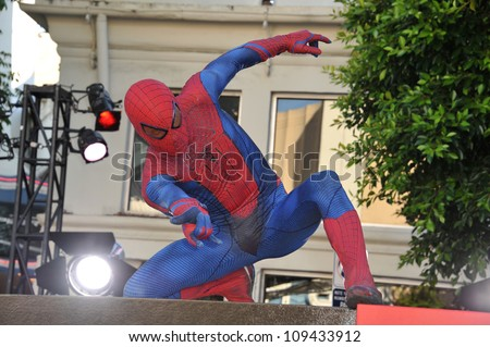 """Spider-Man at the world premiere of """"The Amazing Spider-Man"""" at Regency Village Theatre, Westwood. June 29, 2012  Los Angeles, CA Picture: Paul Smith / Featureflash"""