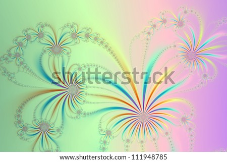 Spider Plant Fractal/Digital abstract image with a spider plant design in blue, yellow, pink, green, red and lilac.