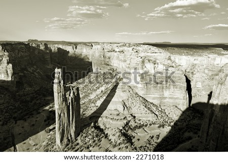 Spider Rock in Canyon de Chelly National monument, Arizona, USA - stock photo