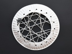 Spider Web Halloween Craft for Kids Close Up Paper Plate Art Project for Children Spooky Party Decoration