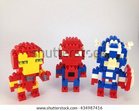 spiderman, Iron Man and Captain america lego nano on white background
