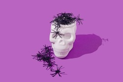 Spiders coming out of a white scull on purple background. Halloween spooky creative design.
