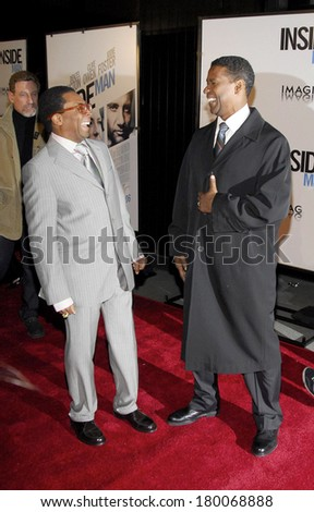 Spike Lee, Denzel Washington at THE INSIDE MAN Premiere, The Ziegfeld Theatre, New York, NY, March 20, 2006