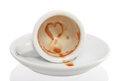 spilled coffee with heart