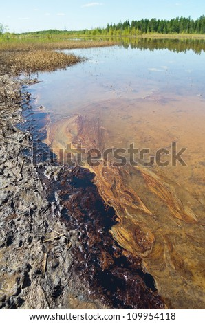 Spilled oil on the shore of lake forest #109954118