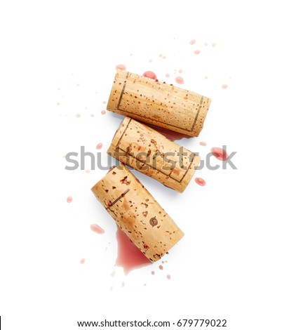 spilled red wine and corks...