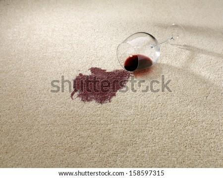 Spilt red wine on carpet