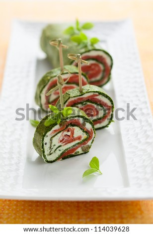 Spinach and Basil Smoked Salmon Roll - stock photo