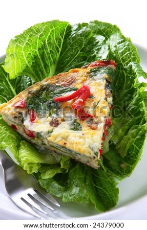 Spinach frittata, or Italian-style omelet, with red bell pepper ...