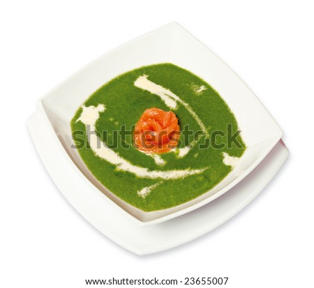spinach soup with cream and fresh salmon