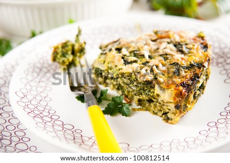 Spinach, Zucchini, and  Parsley Gratin