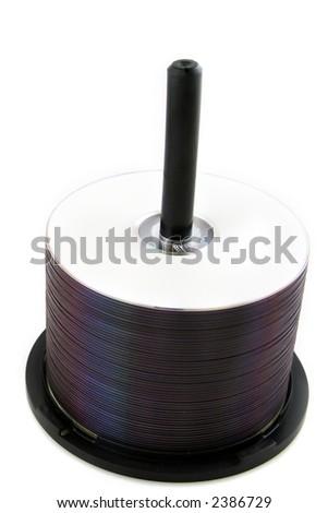 Spindle Stack of Digital Video Discs - DVDs