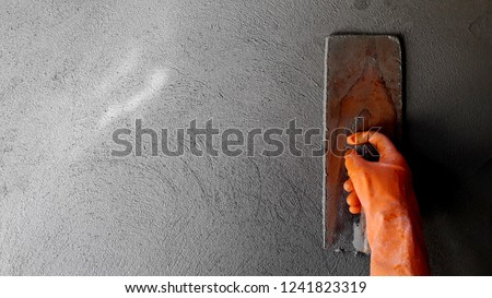 Spinning and splashing water steps to harden and strong wall plastering. Stockfoto ©