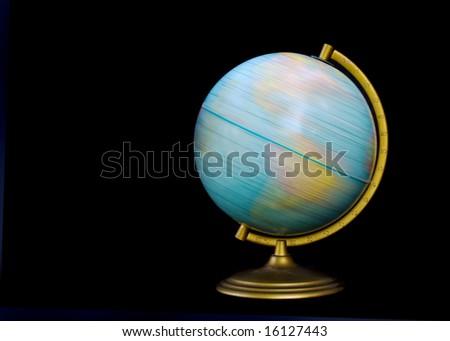 spinning globe isolated on black
