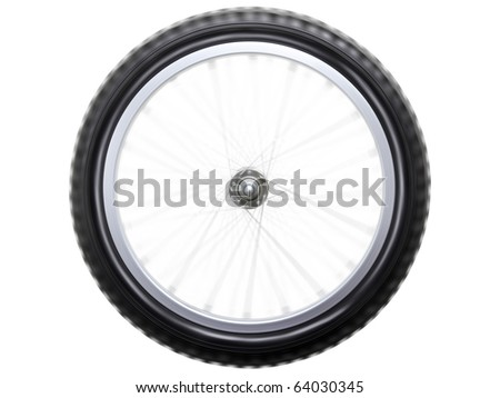 Spinning or rotating sport bicycle wheel isolated