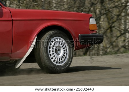 Spinning wheel on a race car