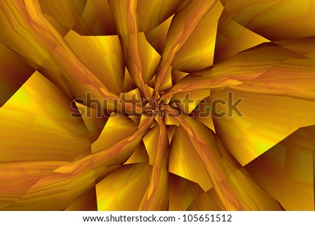 Spiral Arms in Yellow an Orange/Digital abstract fractal image with a spiral design in yellow and orange.