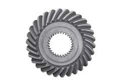 spiral bevel gear with shaft hole isolated on white background
