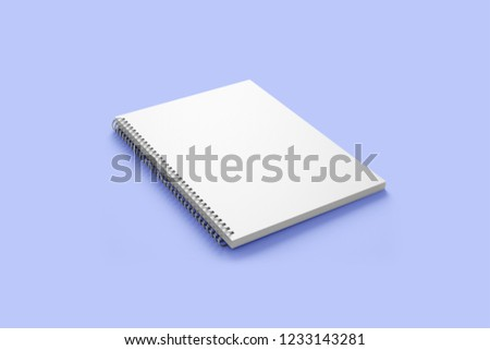 Spiral bound book cover mockup isolated