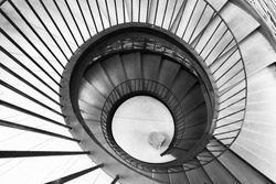 Spiral circle Staircase decoration interior - Black and white Filter Processing