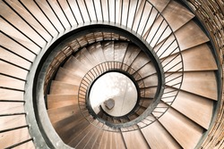 Spiral circle Staircase decoration interior - vintage effect filter