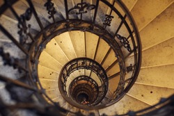 Spiral circle stairs staircase old building
