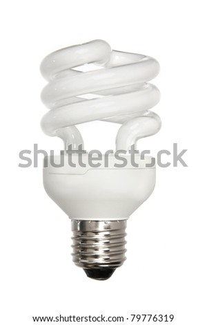 spiral energy efficient light bulb isolated on white