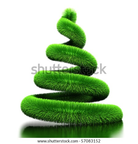 Spiral from fur. Stylized by Christmas tree. Isolated