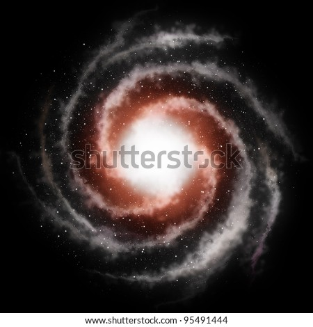 Spiral galaxy against black space and stars in deep outer space
