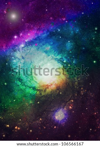 Spiral galaxy against black space, nebula and stars in deep outer space