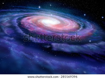 Spiral galaxy, illustration of Milky Way Photo stock ©