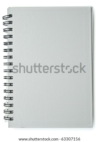 Spiral gray texture cover notebook isolated on white