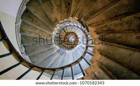 Spiral in London looking up to the sky , stair way to heaven infinite