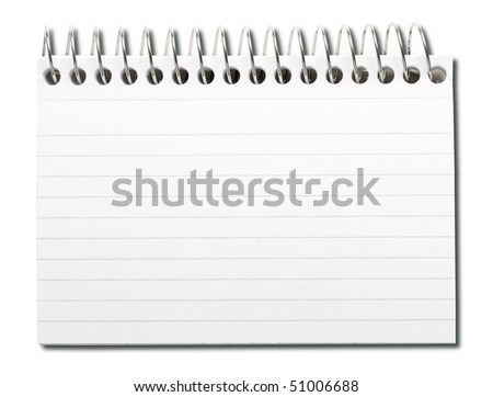 Spiral index card isolated on white.
