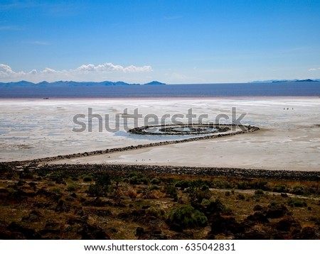 Spiral Jetty in the Great Salt Lake #635042831