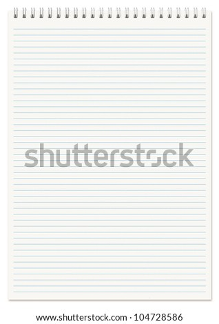 Spiral lined notebook A4 isolated on white.