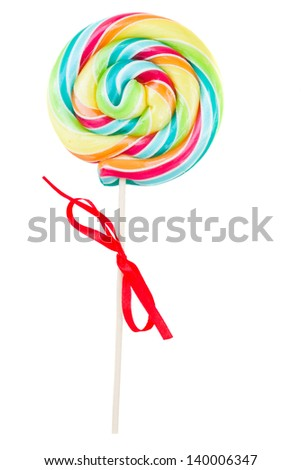 spiral lolly pop candy isolated on white background
