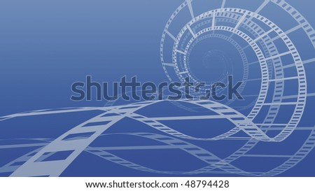 Spiral made from film abstract conceptual 3D illustration background